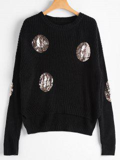 Knit Round Sequins Embellished Sweater - Black