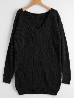 Chunky V Neck Sweater - Black