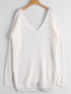 Chunky V Neck Sweater - White