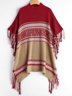 Suéter De Punto Con Franjas - Rojo