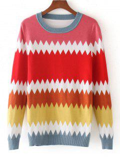 Color Block Zig Zag Sweater - Multicolor