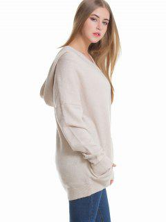 Drop Shoulder Hooded Oversized Sweater - Apricot