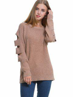 Raglan Sleeve Cutout Sweater - Khaki
