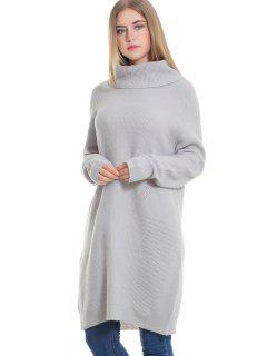 Longline Sheer Turtleneck Sweater - Gray