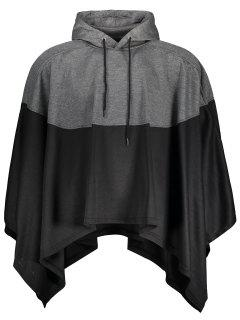 Mens Two Tone Cape Hoodie - Black And Grey L
