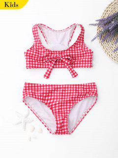 Kids Bowknot Checked Bikini Set - Checked 8t