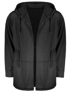 Drawstring Open Front Hooded Coat - Black L