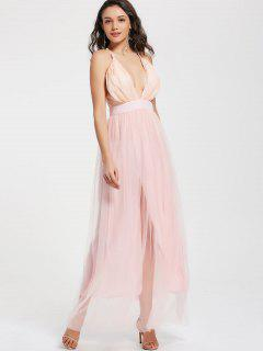 Sequins Plunge Neck Tulle Maxi Robe De Bal - Rose Clair Xl