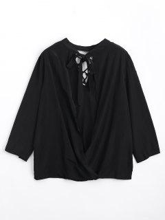 Keyhole Loose Lace Up Blouse - Black S