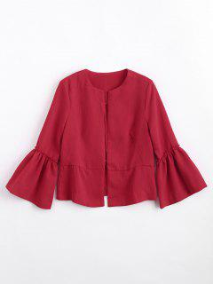 Flounces Flare Sleeve Open Front Blazer - Red M