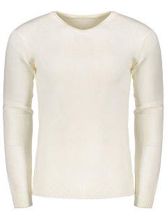 V Neck Sweater - White M