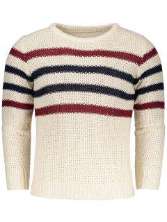 Chunky Striped Sweater - Beige L