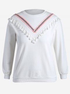 Tassel Plus Size Sweatshirt - White 4xl