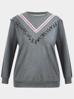 Tassel Plus Size Sweatshirt - Gray Xl