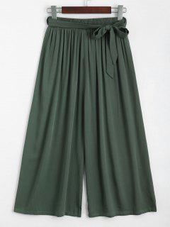 Capri High Waisted Belted Wide Leg Pants - Army Green