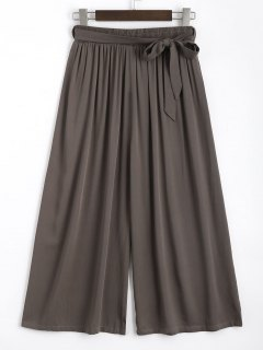 Capri High Waisted Belted Wide Leg Pants - Coffee
