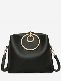 Faux Leather Metal Ring Tote Bag - Black