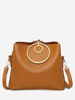 Faux Leather Metal Ring Tote Bag - Brown