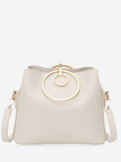 Faux Leather Metal Ring Tote Bag - Off-white