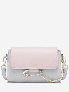Chain Faux Leather Two Tone Crossbody Bag - Pink + Gray