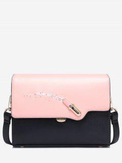 Color Block Beads Lipstick Crossbody Bag - Black