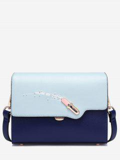 Color Block Beads Lipstick Crossbody Bag - Ice Blue