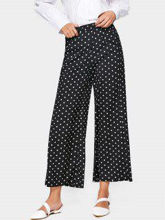 Polka Dot High Waist Wide Leg Pants - Black Xl