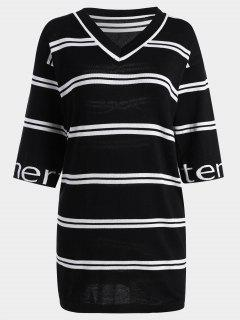 Letter Striped Knitted Shift Dress - Black