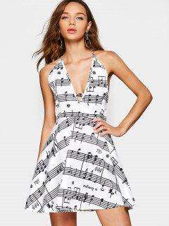 Music Note Print Open Back Cami Dress - White 2xl