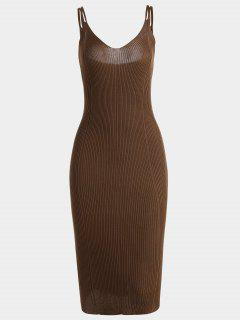 Cami Robe Bodycon En Tricot Simple - Brun