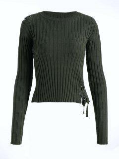 Suéter Con Cordones Y Cordones - Ejercito Verde