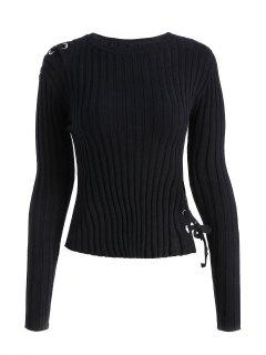 Ribbed Lace Up Sweater - Black