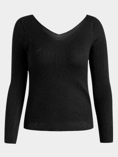 V Neck Long Sleeve Knitted Top - Black