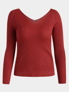 V Neck Long Sleeve Knitted Top - Red