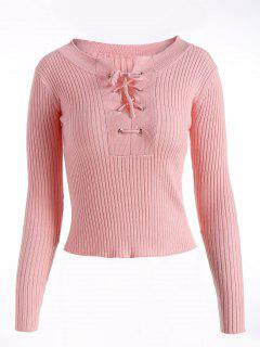 Lace Up Striped Sweater - Pink