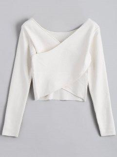 V Neck Overlap Crop Sweater - White