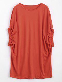 Casual Batwing Sleeve Tee Mini Dress - Orangepink S