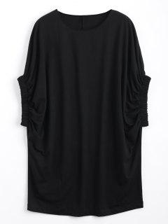 Casual Batwing Sleeve Tee Mini Dress - Black L
