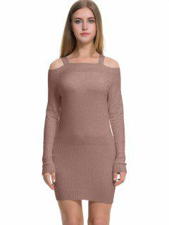 Long Sleeve Cold Shoulder Sweater Dress - Khaki