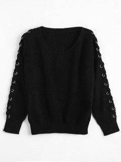 V Neck Lace Up Sleeve Sweater - Black