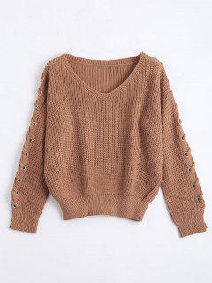 V Neck Lace Up Sleeve Sweater - Coffee