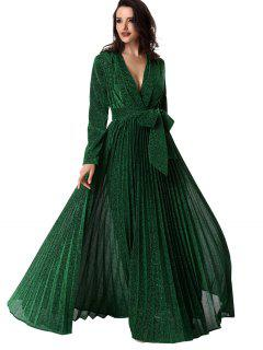 Plunging Neck Glitter Pleated Belted Prom Dress - Green S