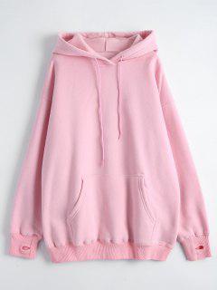 Kangaroo Pocket Loose Fit Flock Hoodie - Pink M