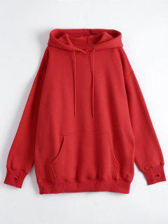 Kangaroo Pocket Loose Fit Flock Hoodie - Red M
