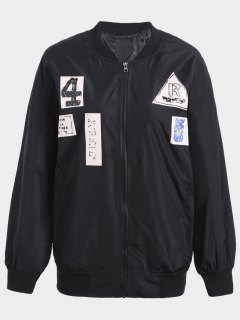 Plus Size Graphic Bomber Jacket - Black 4xl