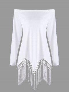 Aus Dem Schulter-Fransen-langes Hülsen-T-Shirt - Weiß 2xl