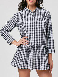 Plaid Long Sleeve Drop Waist Dress - Black White 2xl