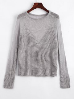 See Thru Voile Panel Sweater - Gray