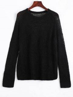 Durchsichtiger Voile Panel Pullover - Schwarz