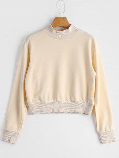 High Neck Cropped Sweatshirt - Beige S